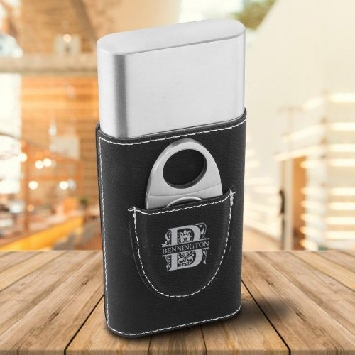 Black Filigree Monogram Faux Leather Cigar Holder