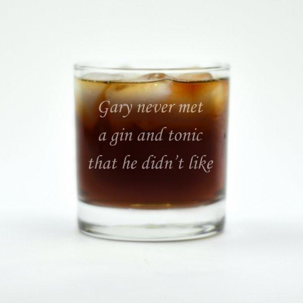Custom Engraved Never Met A Gin&Tonic Rocks Glass