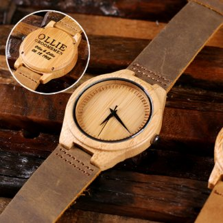 Engraved Bamboo Wood Watch with Leather Straps
