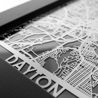 "5"" X 7"" Stainless Steel Cut Dayton Ohio City Map"