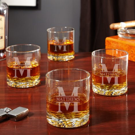 Set of 4 Buckman Marble Base Whiskey Glasses