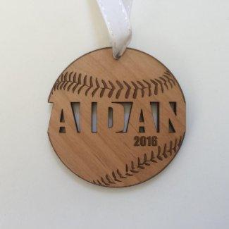 Wood Baseball Ornament for Christmas Team Gifts