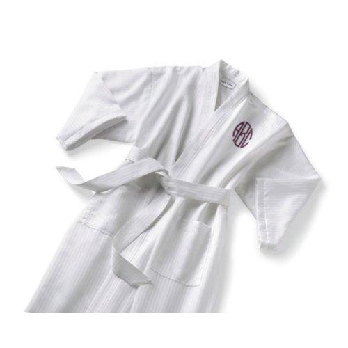 Monogram White Satin Stripe Kimono Bathrobe