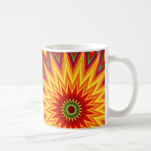Fractal Sunflower Abstract Floral Art Coffee Mug