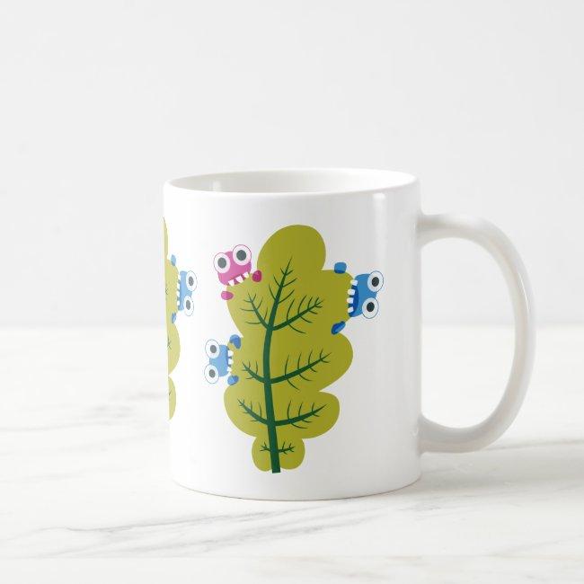 Cute Bugs Eat Green Leaf Coffee Mug