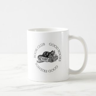 Book Club - Good Books - Good Friends With Cat Coffee Mug