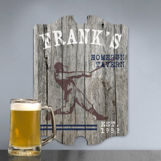 Personalized Man Cave Bar Signs - Homerun Plank
