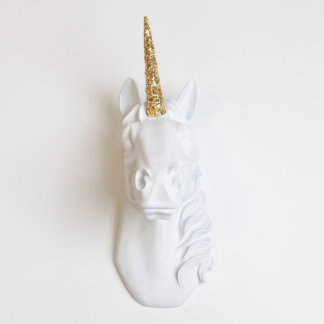 White Faux Unicorn Head with Gold Glitter Horn