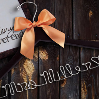Personalized Wedding Hanger w/Copper Ribbon