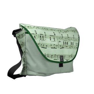 Green Sheet Music Messenger Bag