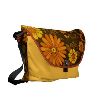 Daisy Retro Print Messenger Bag