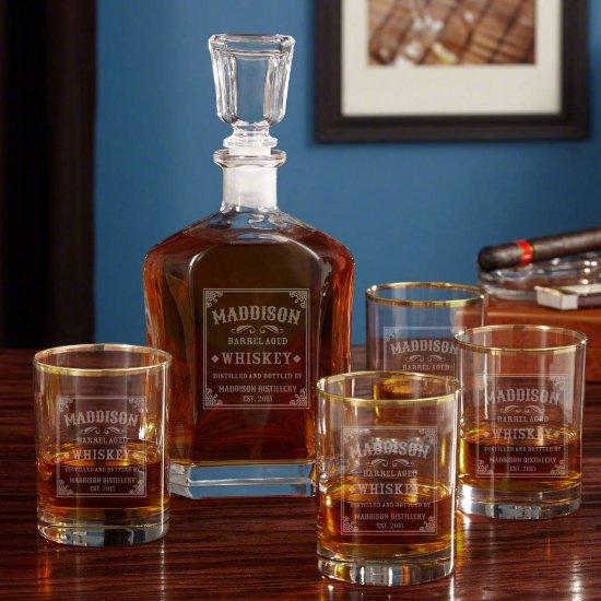 Gold Rim Whiskey Glass Set & Stillhouse Decanter