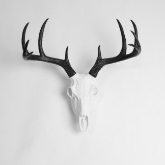 White Faux Deer Skull with Black Antlers