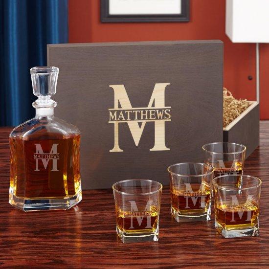 Oakmont Monogram Whiskey Glass Set & Decanter