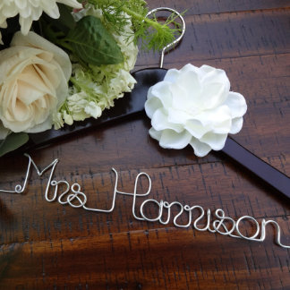 Personalized Bridal Hanger with Ivory Flower Hangers