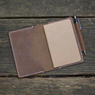 Brown Leather Personalized Notebook Cover
