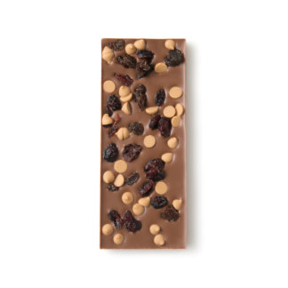 Dried Cranberry, Raisin and Peanut Butter Drop Chocomize Milk Chocolate Bar