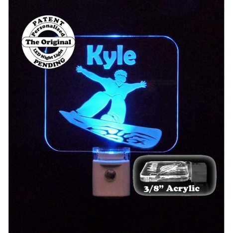 Personalized Snowboarder Blue LED Night Light
