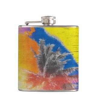 Coconut Tree Pop Art Retro Tropical Vintage Palm Flask