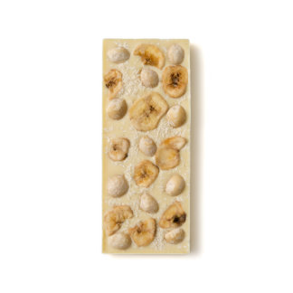 Nuez de macadamia, escama del coco y barras de chocolate blanco