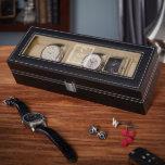 Black Engraved Stamped Monogram Leather Watch Box