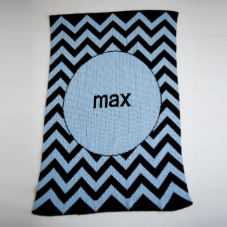 Personalized Country Blue & Black, Chevron Blanket