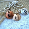Tiny Letter Hand-Stamped Brass Domed Pendant
