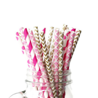 Paper Straws - 25pk of Pink and Gold Damask Paper Straws