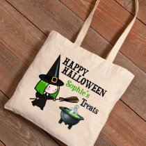 Happy Halloween Witches Potion Green Tote Bag