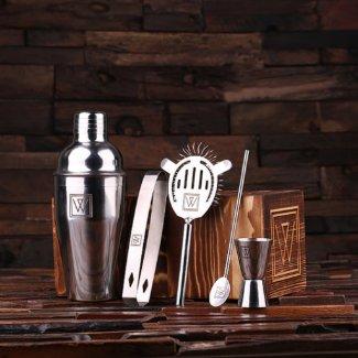 Set of 5 Monogram Steel Utensils & Cocktail Shaker