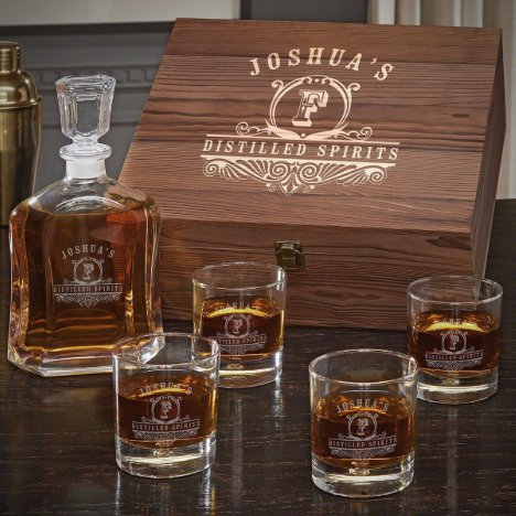 Wooden Box Set w/ Decanter & Bryne Whiskey Glasses
