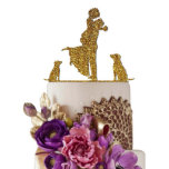 """Bride and Groom With Dogs Wedding Cake Toppers<br><div class=""""desc"""">Sugar Yeti Cake Topper Proudly Made in USA. All Our Cake Toppers are made to order just for your wedding in our facility at Orange County, California. You will receive your cake topper in 2-5 business days depends on how far you live from California. Each topper is laser cut from...</div>"""