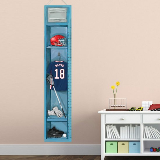 Personalized Sports Locker Growth Chart - Lacrosse