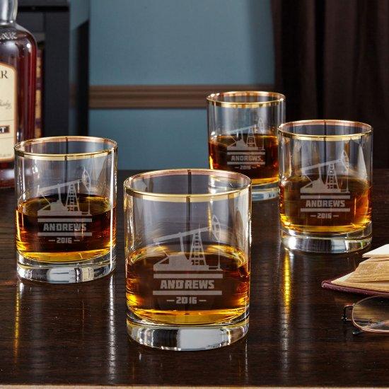 Set of 4 Oilfield Gold Rim Whiskey Glasses
