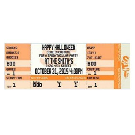 Halloween Ticket Invitations - Qty of 20 Tickets