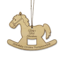 Baby's First Christmas Cute Rocking Horse Ornament