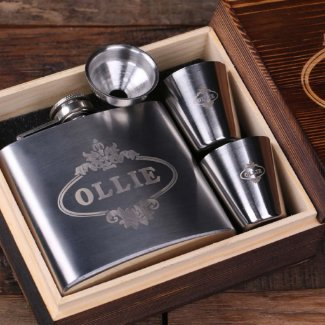 Personalized 5 oz Steel Flask, 2 Glasses & Box
