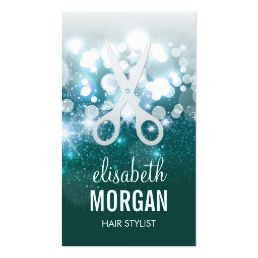 HairStylist Teal Turquoise Glamour Glitter Sparkle Pack Of Standard Business Cards