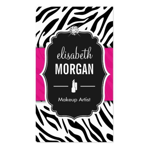 Makeup Artist - Classy Black Pink Zebra Print Business Card Templates (front side)
