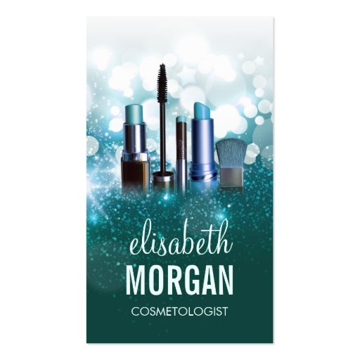 Makeup Artist Cosmetician - Teal Turquoise Glitter Business Cards