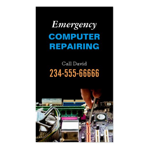 Emergency Computer Repairing Maintenance PC Master Business Card Template