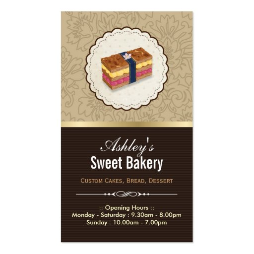 Sweet Bakery Boutique - Loaf Looking Cake Double-Sided Standard Business Cards (Pack Of 100)