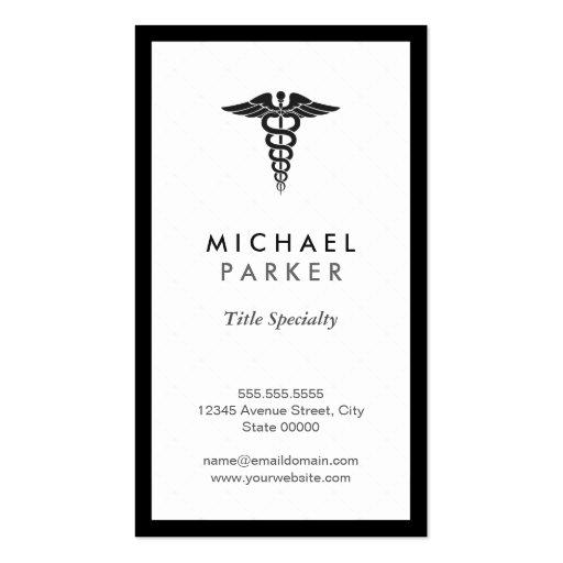 Caduceus Medical Symbol - Retro Black and White Business Cards