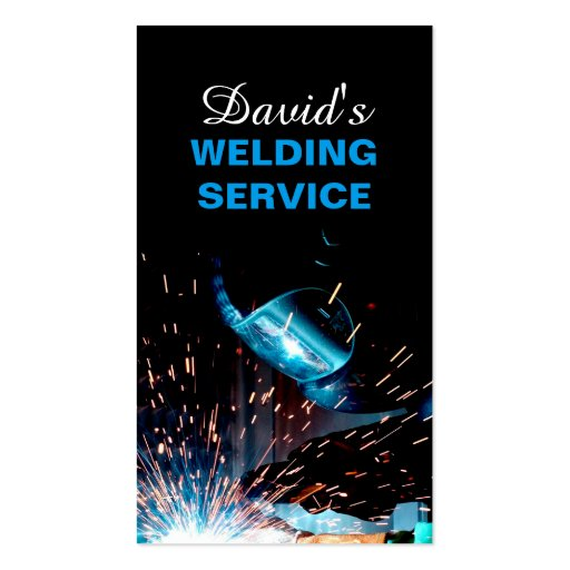 Modern Welding Service and Metal Fabrication Photo Business Card (front side)