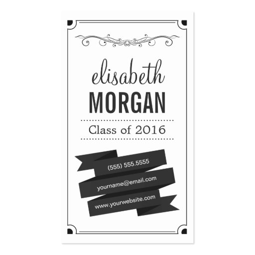 Graduation Name Card - Retro Personal Contact Double-Sided Standard Business Cards (Pack Of 100)