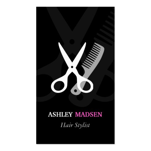 Scissor Comb Symbol - Classy Hair Stylist Business Cards (front side)
