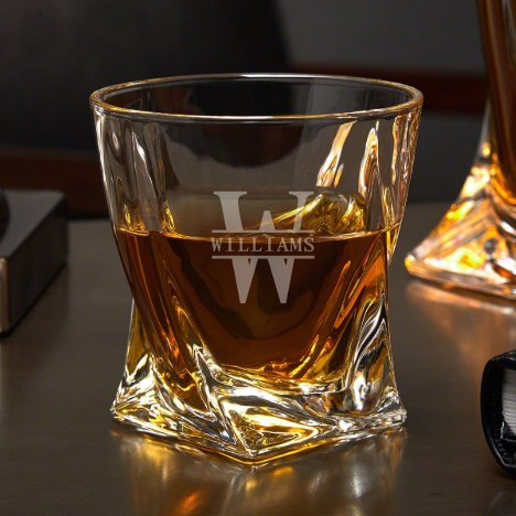 Unique Engraved Twisted 10 oz. Whiskey Glass