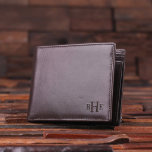 """Brown Engraved Monogram Leather Men's Wallet<br><div class=""""desc"""">Classic leather men's leather wallet, available in brown and black, with optional wood gift box. Crafted from genuine cow leather, these make the perfect groomsmen gift, father's day gift or boyfriend gift. We can engrave anything you want, including logos, full names, quotes and sayings, in the right corner or on...</div>"""