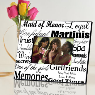 Black on White Personalized Maid of Honor Frame Picture Frame