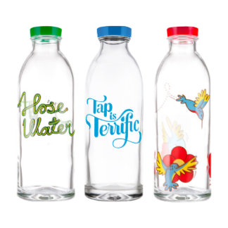 Sistema de cristal reutilizable de la botella de